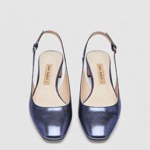 NWT • Zara • Mid-Heel Slingback Shoes